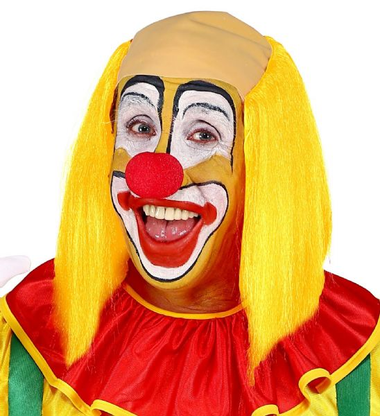 Adults Unisex Clown Headpiece with Colourd Hair Circus Fancy Dress Wig